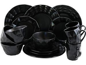 Elama Retro Chic Glazed Dinnerware - 16 Piece - Black