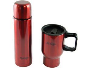 Mr Coffee 108165.02 Javeline 2 Piece Thermos & Thermal Travel Mug Gift Set, Red Metallic Stainless Steel
