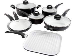 Oster 107307.11 Herstal 11 Piece White Ceramic Interior Aluminum Cookware Set, Black