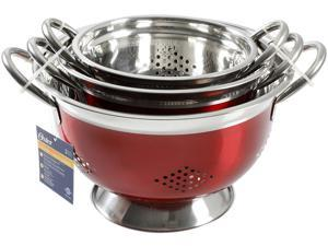 OSTER Metaline 3 Pack Asian Colander - Round - Metallic Red - Stainless Steel - 0.4 mm