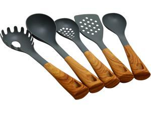 Oster Everwood Kitchen 5-Piece Nylon Tools Set with Wood Inspired Handles