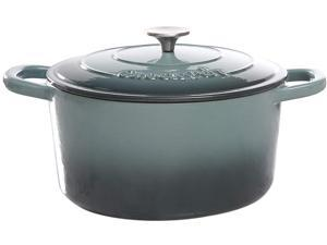 Crock Pot 69143.02 Artisan 7 Quart Enameled Cast Iron Round Dutch Oven, Slate Gray