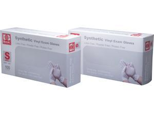 Basic Brand Synthetic Vinyl Exam Gloves 100pcs per Box, 2 Boxes, Small Size
