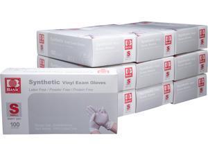 Basic Brand Synthetic Vinyl Exam Gloves 100pcs per Box, 10 Boxes, Small Size