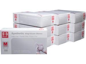 Basic Brand Synthetic Vinyl Exam Gloves 100pcs per Box, 10 Boxes, Medium Size
