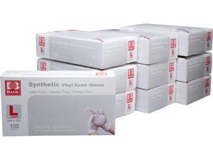 Basic Brand Synthetic Vinyl Exam Gloves 100pcs per Box, 10 Boxes, Large Size