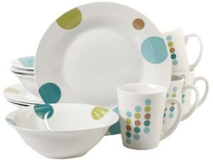 Gibson Home 91701.12 Retro Specks 12 Piece Dinnerware Set, White
