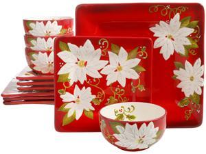 Gibson Laurie Gates Pleasant Poinsettia 12 Piece Dinnerware Set, Red (Christmas Dishes)