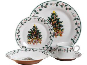 Gibson Tree Trimming 20 Piece Dinnerware Set - Christmas Theme