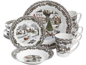 Gibson Christmas Toile 16-Piece Dinnerware Set - Decorated - Fine Ceramic
