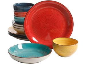 Gibson Home 118379.12 Color Speckle 12 Piece Mix and Match Double Bowl Set, Assorted Colors
