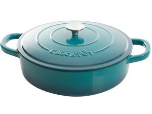 Crock Pot Artisan 5 Quart Round Enameled Cast Iron Braiser Pan with Lid, Teal