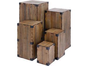 Cedar Crest 305258 Set of 5 Brown Wood Farmhouse Pedestal Table