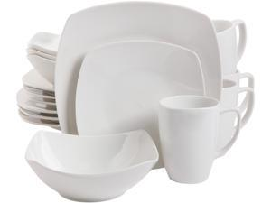 Gibson Overseas 16 Piece Zen Buffetware Dinnerware Set, White, Fine Ceramic