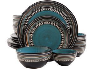 Gibson Overseas Cafe Versailles 16 Piece Double Bowl Dinnerware Set, Blue