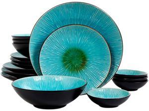 Gibson Overseas Shangri-La Court 16 Piece Double Bowl Set, Turquoise