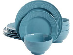 Gibson Overseas Plaza Cafe 12 Piece Dinnerware Set, Turquoise