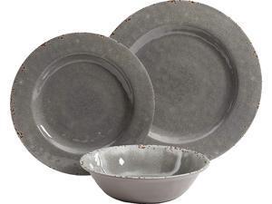 Studio California 114336.12 Mauna 12 Piece Heavy Weight Melamine Dinnerware Set, Grey Rustic