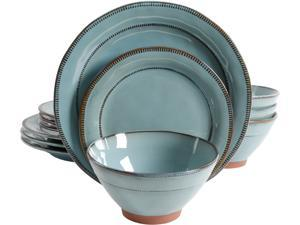 Gibson Elite 116888.12 Terranea 12 Piece Dinnerware Set, Teal