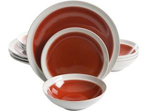 Gibson Elite 116882.12 Clementine 12 Piece Dinnerware Set, Red