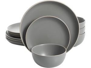 Gibson Overseas Rockaway 12 piece Dinnerware Set in Grey