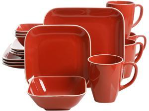 Gibson Overseas Square Dance 16-Piece Dinnerware Set, Red