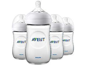 Philips Avent Natural Baby Bottle, Clear, 9 oz., 4pk, SCF013/47