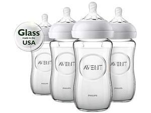 Philips Avent Natural Glass Baby Bottle, 8 oz., 4pk, SCF703/47