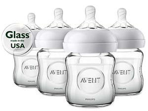 Philips Avent Natural Glass Baby Bottle, 4 oz., 4pk, SCF701/47