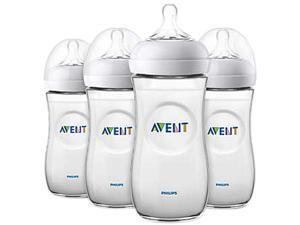 Philips Avent Natural Baby Bottle, Clear, 11 oz., 4pk, SCF016/47