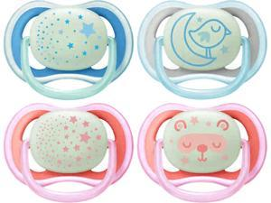 Philips Avent Ultra Air Nighttime Pacifier, 6-18 Months, Various Colors, 2-pack, SCF376/20