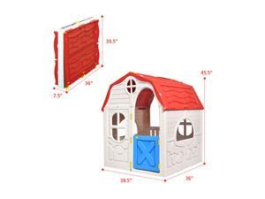 Kids Cottage Playhouse Foldable Plastic Play House Indoor Outdoor Toy Portable