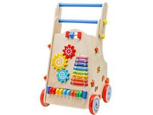 ubesgoo Adjustable Wooden Baby Activity Walker Toddler Learn-to-Walk Cart Kid Push Toys