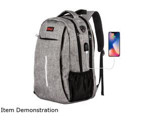 """OPACK 15.6"""" Laptop Business Backpack, TSA Friendly Durable Anti Fraud Travel with USB Charging Port/Headphones Hole, Water-Resistant"""