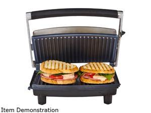 Continental Electric CP43529 2-Slice Panini Grill Maker, Stainless Steel