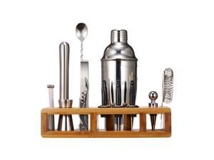 Flurff Homezest Bartender Kit with Bamboo Stand, 19pcs Cocktail Shaker Bar Set for Drink Mixing Perfect Home Bartending Kit Tools With Martini Shaker
