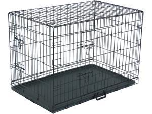 "36"" Dog Crate Fold Metal Pet Cage Kennel House for Animal 2 Door  w/Tray"