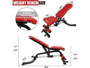 Adjustable Weight Bench-7 Linkage Adjustment Workout Bench for Home Gym, Multi-Purpose Incline/Flat/Decline Heavy Bench with Big Seat Cushion, Strength Training(2020 Upgrade)