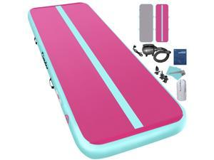 Furgle 16ft Airtrack Air Track Floor Inflatable Gymnastics Tumbling Mat GYM w/ Pump Pink USA