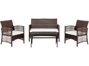 4-Piece Outdoor Patio Conversation Set,PE Wicker with Cushions