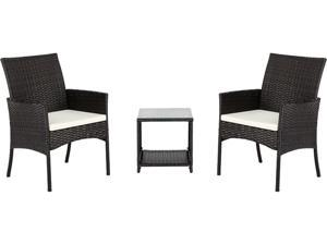 3-Piece Outdoor Patio Chat Set,Coffee Table and Chairs PE Wicker
