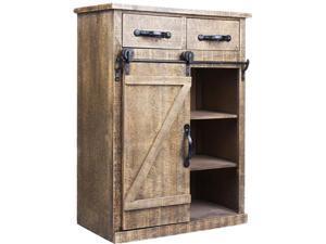 Brown Wood Rustic Sliding Barn Door Console Cabinet Storage Home Organizer