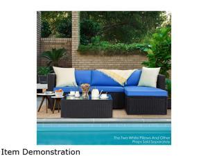 Bossin 5 Pieces Patio Furniture Sectional Sets,Outdoor All-Weather PE Rattan Wicker Lawn Conversation Sets,Garden Sofa Set with Coffee Table and Washable Couch Cushions (Royal Blue)