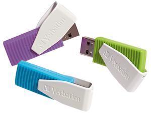 8GB SWIVEL USB FLASH DRIVE 3PK - BLUE, GREEN, VIOLET