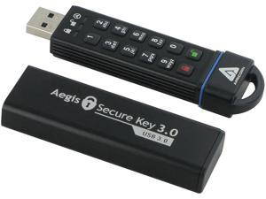 Apricorn Aegis Secure Key 120GB FIPS 140-2 Level 3 Validated USB 3.0 Flash Drive with PIN Access 256bit AES Encryption Model ASK3-120GB