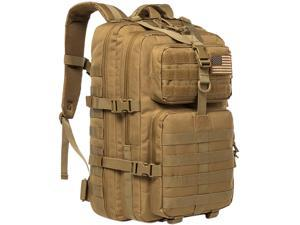 Kylebooker Military Tactical Backpack Large Army 3 Day Assault Pack Molle Bug Bag Backpacks Rucksacks for Outdoor Sport Hiking Camping Hunting 40L Brown