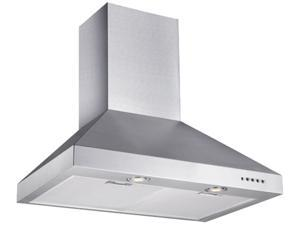 """Chef 30"""" WM-530SS-30B Wall Mount Range Hood w/ Powerful Blower, Mechanic Button Control, Six-Layer Aluminum Filter, Halogen Lamps, Fits 6"""" Duct or Ductless"""