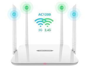 Wavlink AC1200 High Power Dual Band 2.4G/5GHz Wireless Router, Gigabit Ethernet Wi-Fi Router, IEEE 802.11ac/a/b/g/n, 4 x 5dBi High Gain External Antennas, Smart LED Indicator, Support WPS, WPA/WPA2