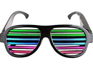 Light up LED Glasses Multi Color Sound & Music Flashing Light Rechargeable Eyeglasses with USB Charger for Kids and Adults in Disco, Party, Halloween, Christmas Gifts