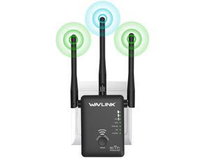 Wavlink WL-WN575A2 Wireless WiFi Router / Range Extender AC750 w/ 5dBi High Performance Antennas Dual Band 2.4GHz 300Mbps + 5GHz 433Mbps Ethernet Signal Booster Repeater Access Point for Guest Network